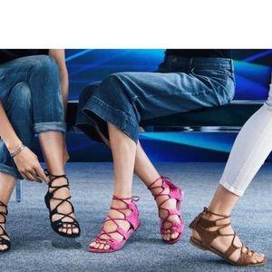 Stuart weitzman pink Roman suede sandals